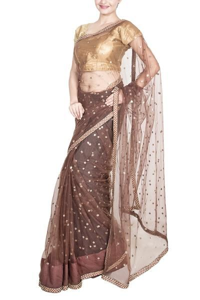 Brown Soft net saree