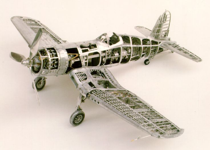 Scale model F4U Corsair made entirely of aluminum at the Joe Martin Craftsmanship Museum in Vista, CA.