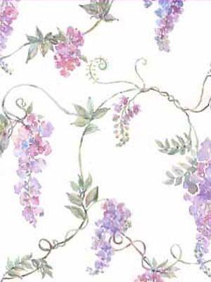 Wisteria and Vines on White Background Wallpaper