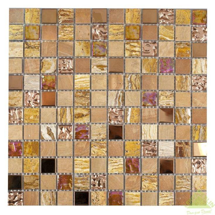Мозаика из нержавеющей стали Artens, стекло/камень, бежевая/золотая, 300х300х8 мм, Мозаика - Каталог Леруа Мерлен