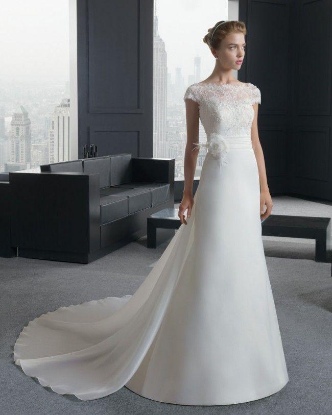 優雅な バトーネック チャーチ A ライン ブライダルドレス ウェディングドレス Hro0140