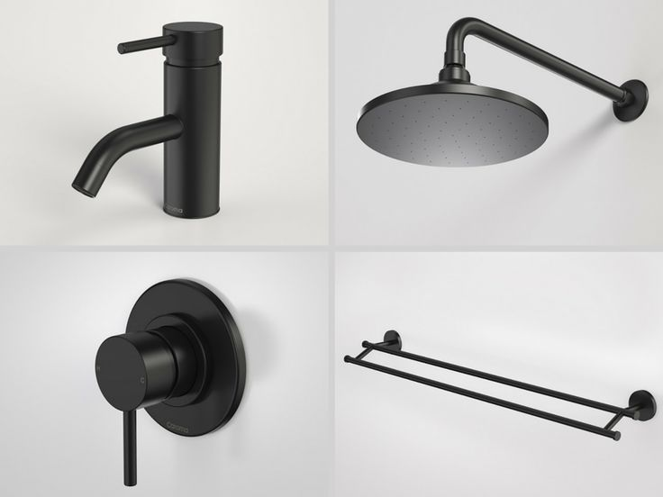 Black Tapware, shower heads & Towel Rail