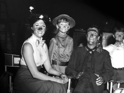 Julie Andrews, Karen Dotrice, and Dick Van Dyke on the set of 'Mary Poppins,' 1964.