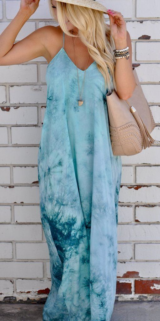 #summer #outfits Blue Printed Maxi Dress + Beige Leather Tote Bag