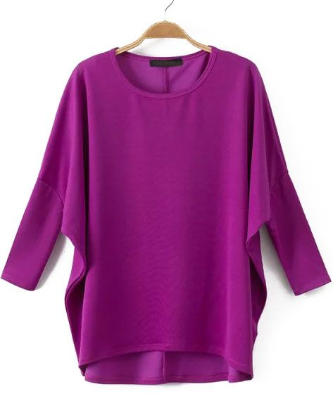 Purple Batwing Sleeve Loose Dip Hem T-Shirt 12.83