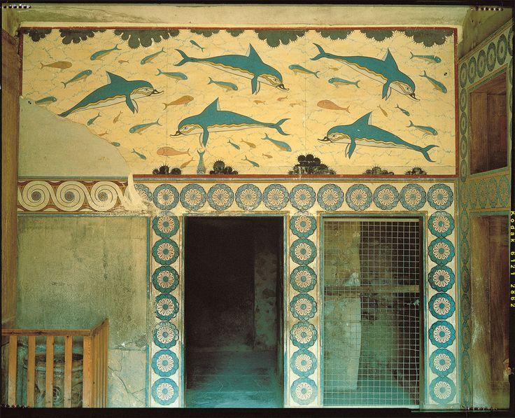Affresco con delfini che decora le pareti di una delle sale dell'«appartamento della regina» nel palazzo di Cnosso.