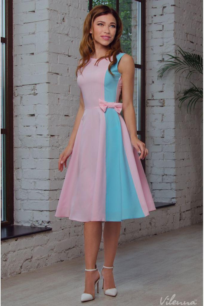 Платье нежное летнее с пышной юбкой и бантом • цвет: розово-голубой • интернет магазин • vilenna.ua