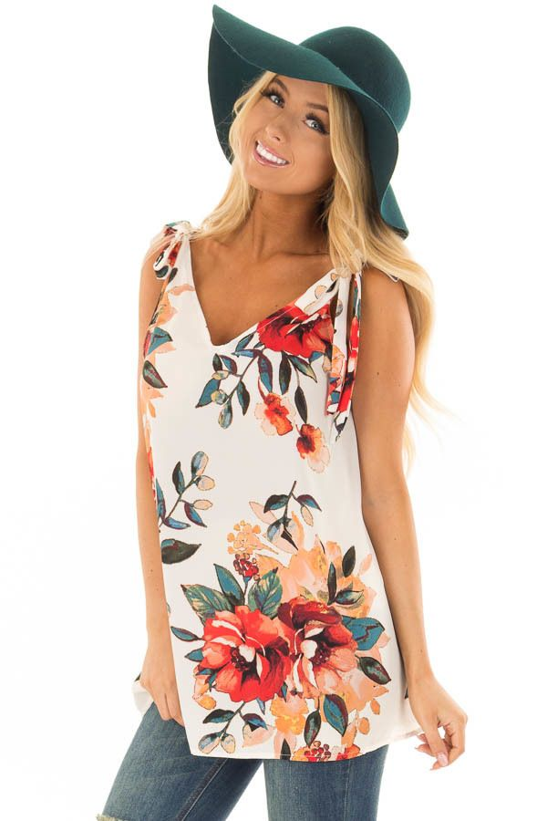 040bccb7588b1 Lime Lush Boutique - Off White Floral Print Tank Top with Tie Straps ...