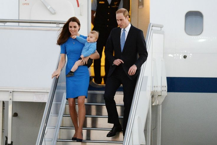 The duchess in Stella McCartney and Prince George in Rachel Riley with the duke in April.