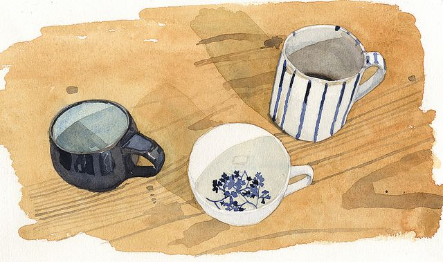 Part of a preview of a mini drawing project from Dear Green Coffee. I love drawing cups, there's a completeness to them each in their own world.