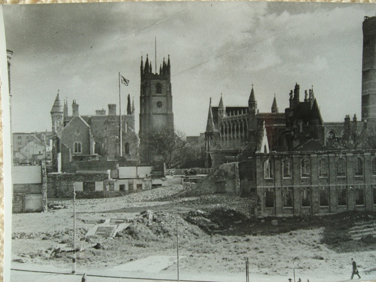 The bombed city centre of Plymouth with Guildhall & St. Andrews Church showing.