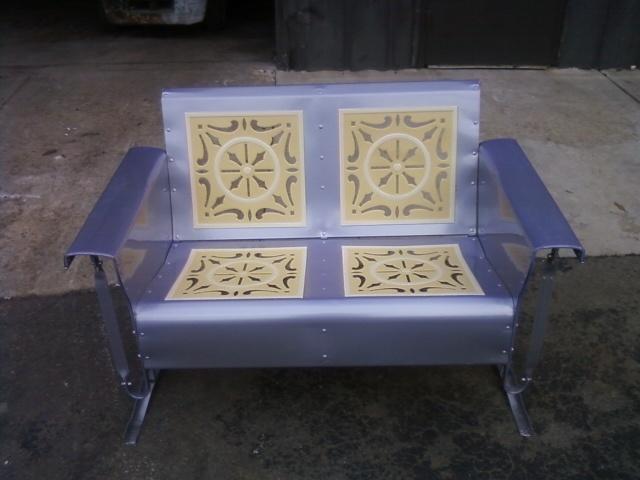 lavendercreamyellow powdercoated resotred vintage porch gliderbeautiful - Garden Furniture Gliders