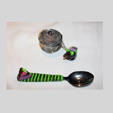 Filtre à thé theiere chocolat et petite cuillère assotie cake : Cuisine et service de table par ludifimo