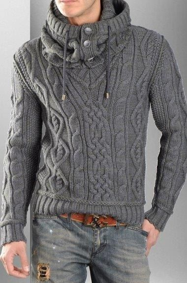 D&G design Knit Aran Mens Pullover with Cable Knit Infinity Scarf. Male Aran…