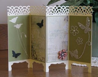 UUUUH!!!  sooooo cool!  tri-fold paper (like an accordian), use border punch along top and scallop-frame punch (centered) on bottom - but only punch to half-way point of frame... GEEEEENIOUS!!!!!!!! Folding Screen card (Feb 15, 2013)