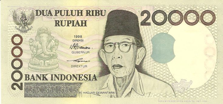 1998 Indonesia Bank Note 20,000 Rupiah