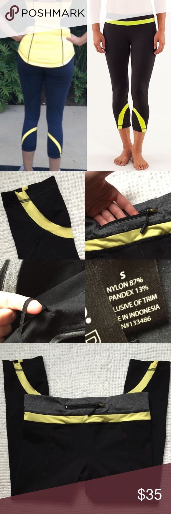 💕Yoga Inspire Crop Black Yellow Small like New 💕 Like new Lululemon inspire crop inspired crops! Size small which is equivalent to a size 4 in lululemon. Stock photos shows exact fit and pics 2-4 show the exact crop! Brand is 90 degrees. Lovely design that still high quality at half the price!!🚫trades 90 degrees Pants Ankle & Cropped