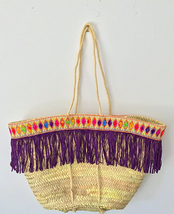 Straw Summer Bag Purple Rain Beach Bag Market