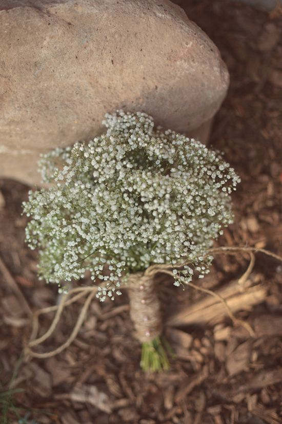 Rustic bouquets - babys breath with jute...Very cute and simple!