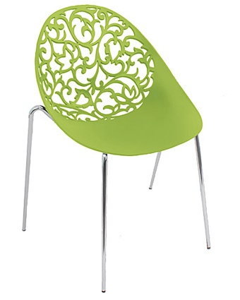 Dahlia Chair: Graceful, laser etched stackable chair with chrome legs. Available in white, red and green.