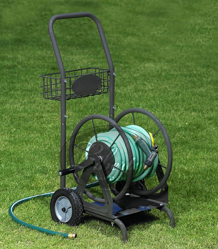 The 698 Multi-Purpose Hose Cart features 4 functions in 1 unit! This unit functions as a two wheel cart, a wall mounted hose reel, a hose reel that anchors into grass, or a non-skidding hose reel for the garage floor! #LibertyGarden #hosecart #garden #gardening #diy #yard
