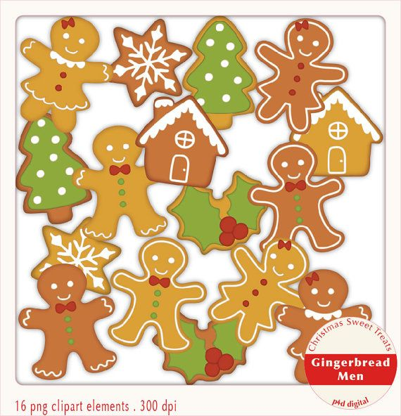 Christmas Gingerbread Men  Clipart  Digital by paper4download