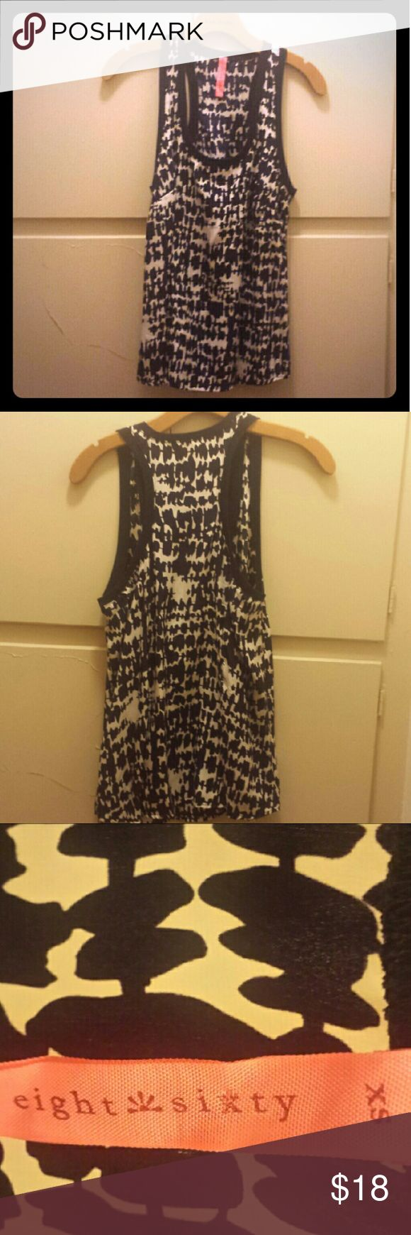 Eight Sixty Silk Tank Top Eight Sixty brand size extra small XS blue and white print (looks like inkblots) silk tank top with a blue trim along the neckline and arm holes. Has one breast pocket. No flaws or signs of wear. Eight Sixty Tops Tank Tops
