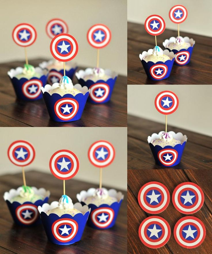 [Visit to Buy] 24pcs Captain America 12x cupcake wrappers + 12x cake toppers set wedding decoration baby shower kids birthday party supplies #Advertisement