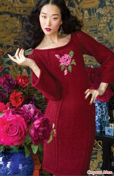 Вязанoе платье Rose Motif