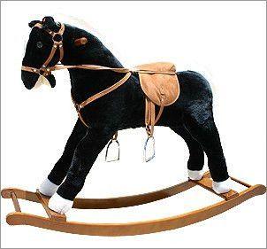 Beautiful Black Large plush rocking horse with sound effects