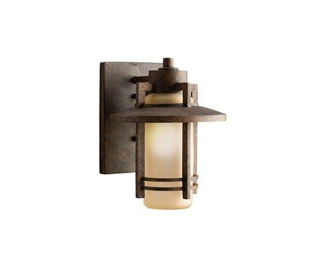 Outdoor wall mount 9 fixture in aged bronze with umber glass kichler lighting
