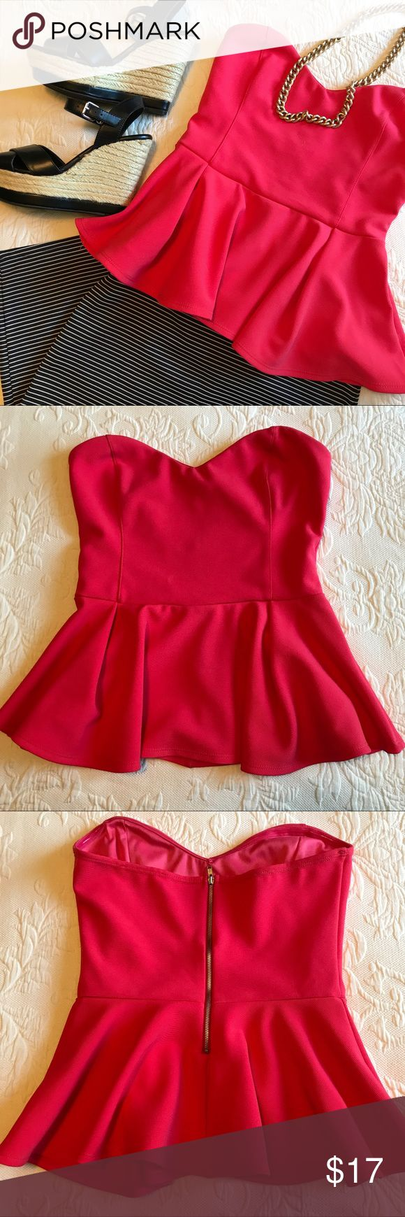 Lush • Red Strapless Peplum Top Bright color - perfect for a night out!! Lush Tops Blouses