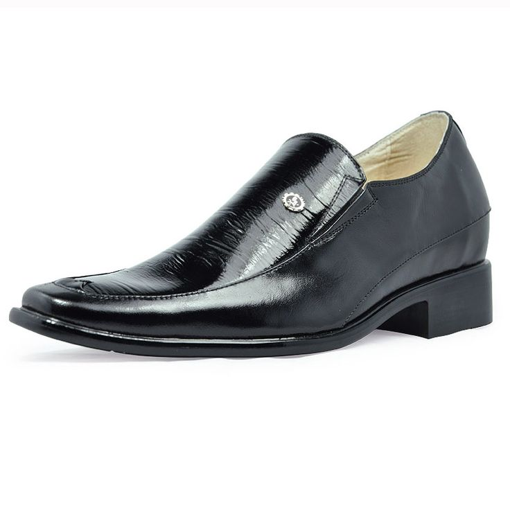 Black  orthopedic shoe lifts 7cm / 2.75inch with the SKU:MENJGL_4015 - men height increasing elevator dress shoes grow taller 7cm / 2.75inches
