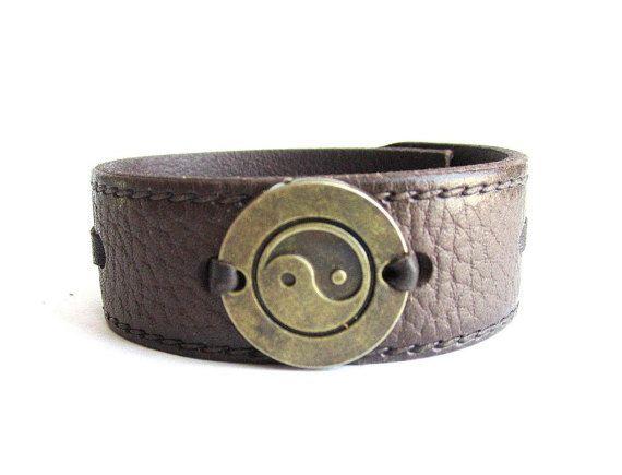 Yin Yang leather bracelet men men leather cuff by Bravemenjewelry