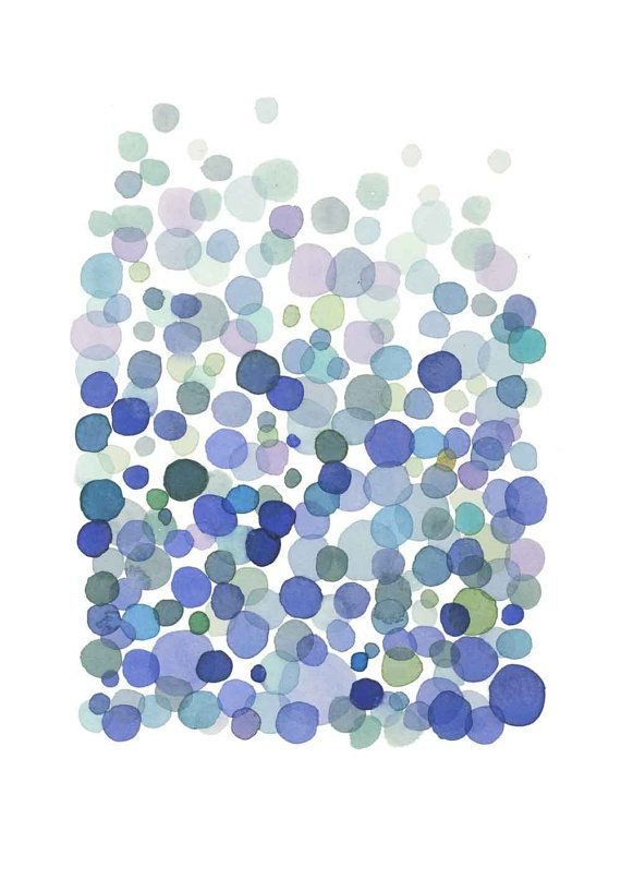 Bubbles cobalt blue dots - print giclee  watercolor painting - ultramarine sky blue white air Netherlands indigo