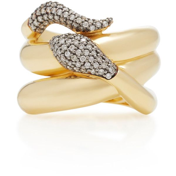 Sorellina 18K Gold Diamond Snake Ring (6,520 CAD) ❤ liked on Polyvore featuring jewelry, rings, gold, yellow gold rings, gold diamond rings, yellow gold diamond rings, snake ring and gold snake ring