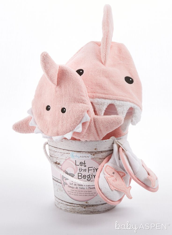"Four-piece bath gift set features soft pink terry hooded towel; soft shark bath mitt; and two spa slippers with sea pink shark appliques. | ""Let The Fin Begin"" Four-Piece Bathtime Gift Set (Pink) 