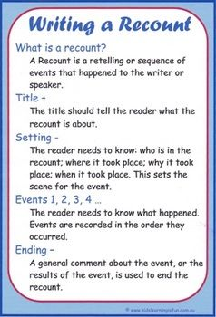 The 'Writing a Recount Cheat Sheet' is based on the Genre Skeleton for Recounts.  The Cheat Sheet is an easy to use sheet showing the format of the Recount Genre.  A great tool for parents to have in order to fully understand what is needed of their children when writing a Recount, whether for homework or an assignment.