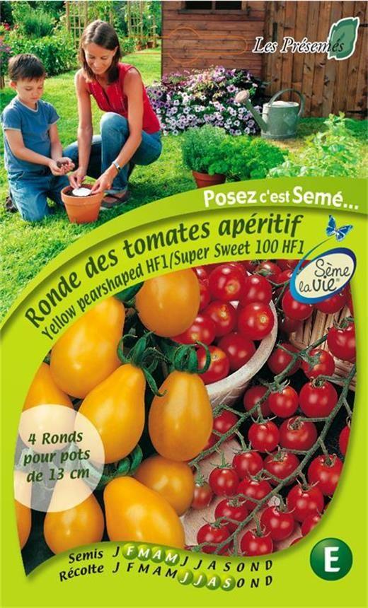 Yellow Pearshaped HF1 : Variété précoce, très productive aux fruits en forme de poire.  Super Sweet 100 HF1 : Variété précoce de type tomate cerise...