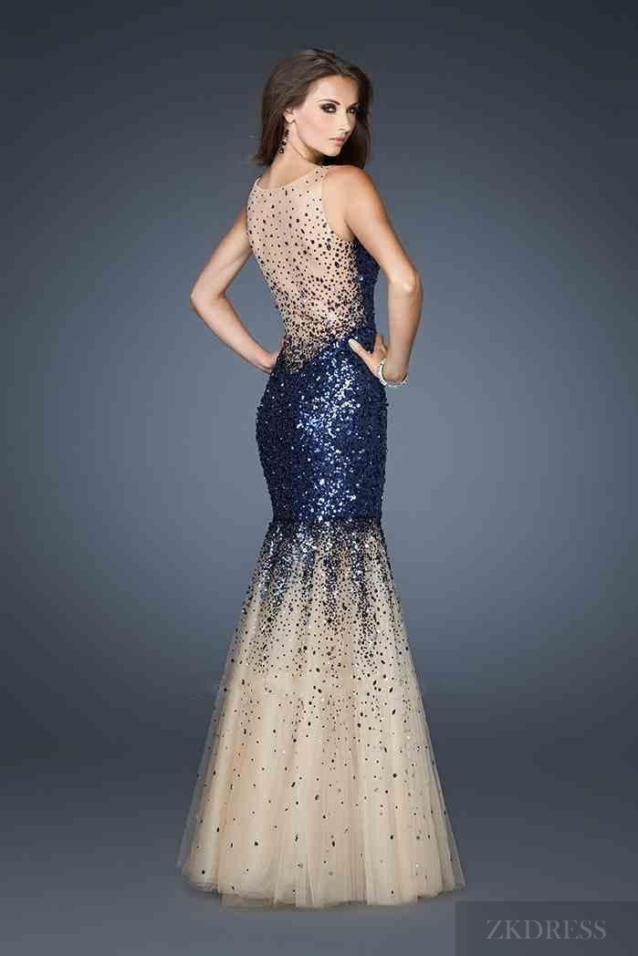 Fashion Mermaid Tulle Long Sleeveless Royal Blue Prom Dress The