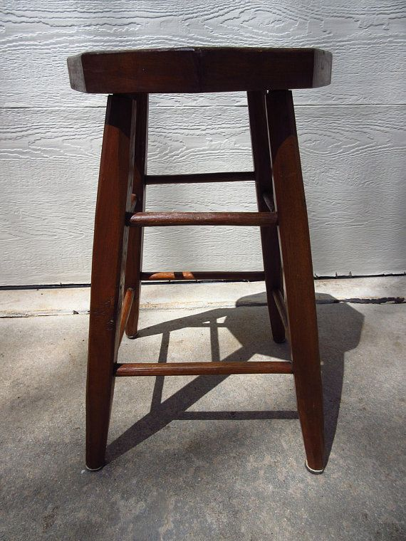 Vintage Tall Oak Walnut Stool Rustic Stool Farmhouse Stool Measures
