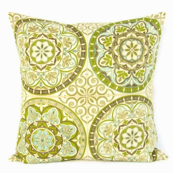 Lime Green Pillow Cover Teal Taupe Geometric Home Decor