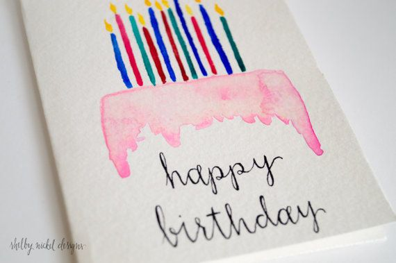 Items similar to Watercolor Card, Happy Birthday Cake & Candles Card - Original Handmade - Card for Birthday - Greeting Card - Handprinted watercolor card on Etsy