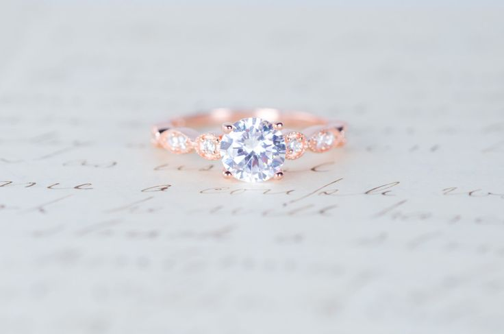 Rose Gold Engagement Ring - Art Deco Ring - Promise Ring - Vintage Ring - Wedding Ring - Sterling Silver by MochaRings on Etsy https://www.etsy.com/listing/224115088/rose-gold-engagement-ring-art-deco-ring