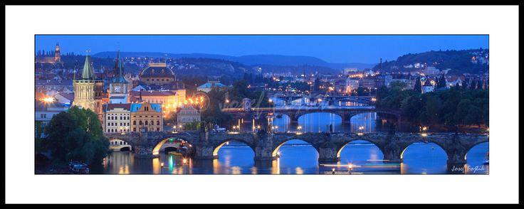 Framed fine art print - Prague bridges. A picture from the book Panoramic Pictures of Prague. Photo: Josef Fojtik - www.joseffojtik.com - https://www.facebook.com/Fineartphotoprints
