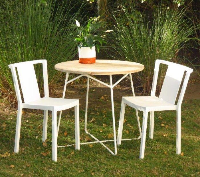 Marabierto mesa tango con tapa de teca y base hierro for Mesa y sillas blancas