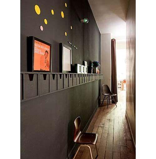 Creative Small Apartment Hallway Decoration of Black Wall Design