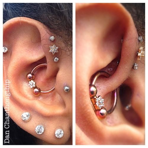Daith and triple forward helix. Note too self, get these next Fall c;