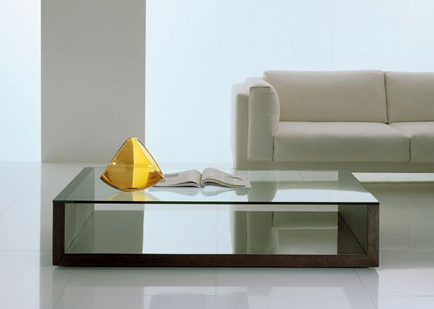Coffee table / contemporary / glass / wooden base SLOANE by O.Buratti & G.Buratti Acerbis International