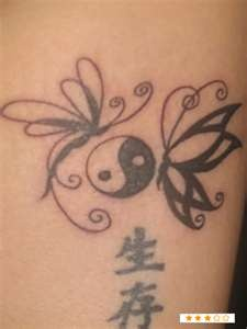 dragonfly and butterfly tattoos - this could look really cool around my flower - maybe even work in the kids zodiac symbols